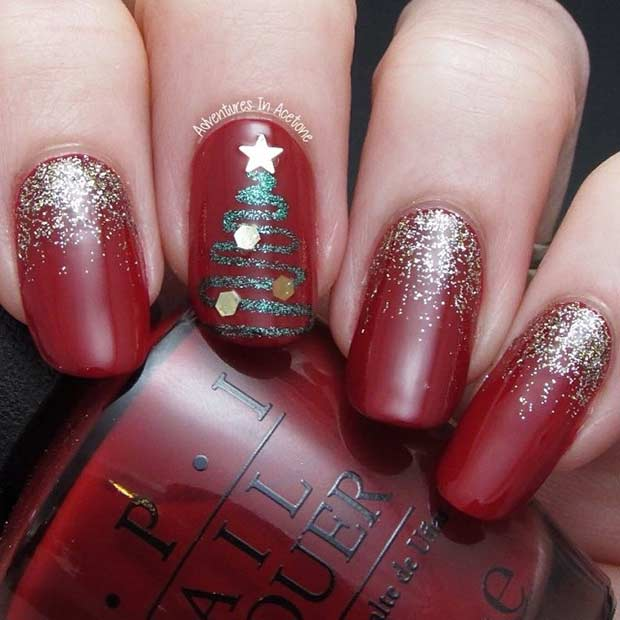 लाल and Gold Christmas Nail Art Design