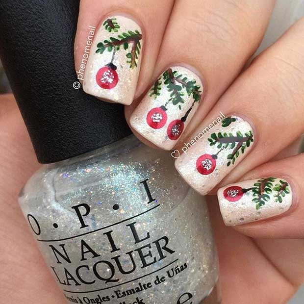 Божић Baubles Nails