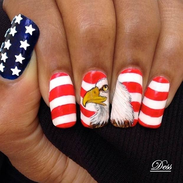 amerikan Flag and Eagle Nail Design