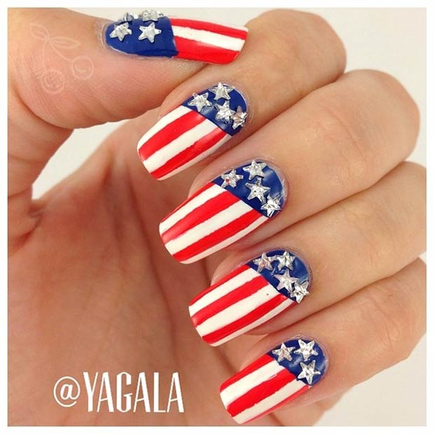 Patriotisk Nail Design for 4th of July