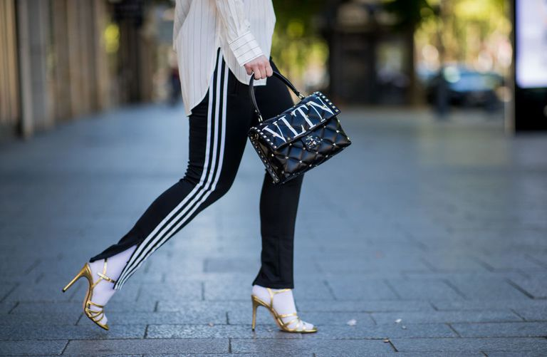 Arany sandals and athleisure pants