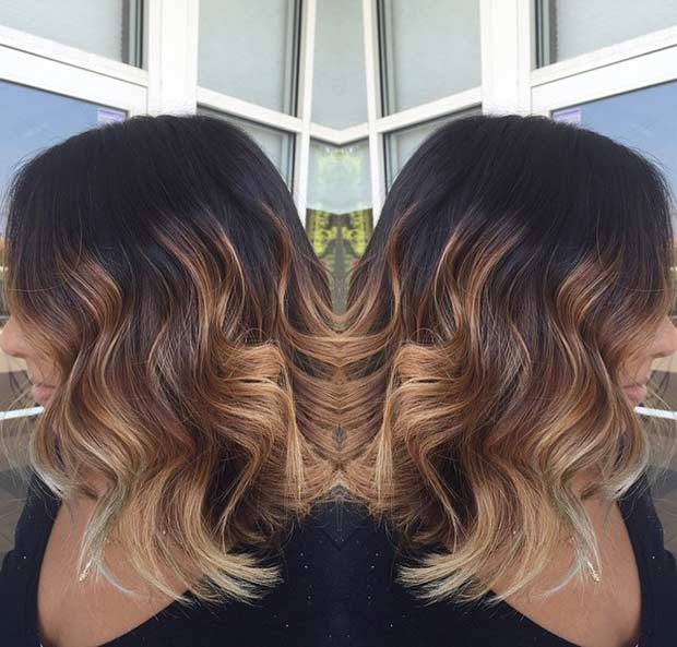De aur Caramel Balayage Highlights on Bob Haircut