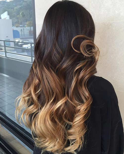 Miere Blonde Balayage Lowlights on Dark hair