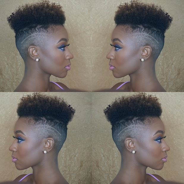 afro Mohawk with Shaved Sides for Black Women