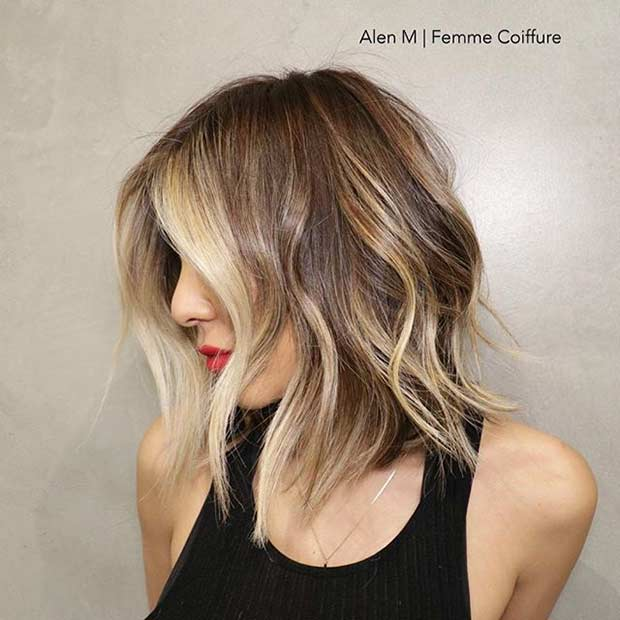 ไหล่ Length Bob Haircut with Blonde Balayage Highlights