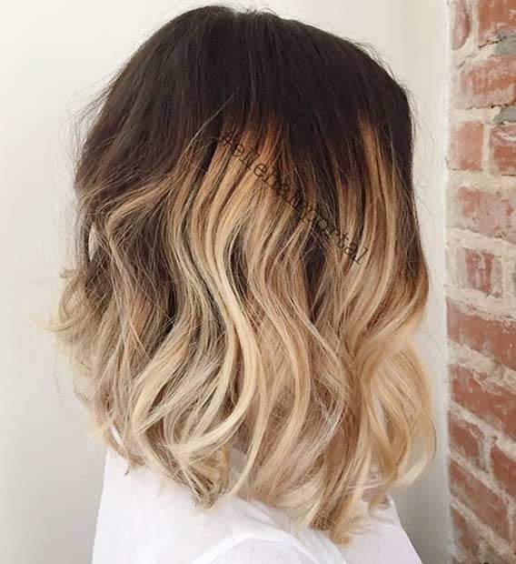 สีบลอนด์ Ombre Shoulder Length Bob Haircut