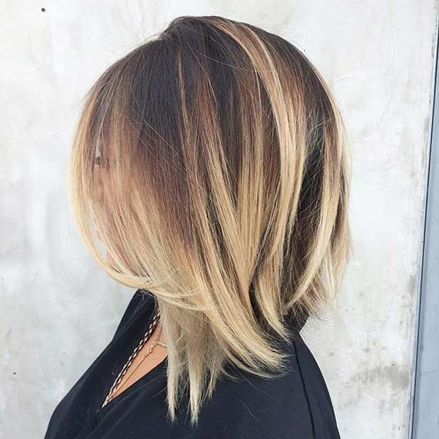 Umăr Length Bob Haircut with Blonde Balayage Highlights