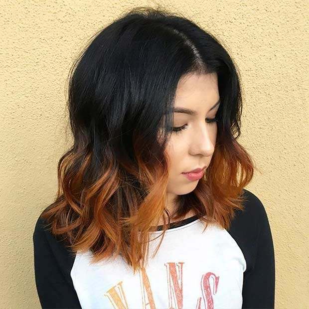 เผา Orange Ombre Shoulder Length Bob Haircut