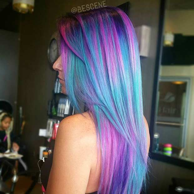 रंगीन Fairy Pink and Blue Hair