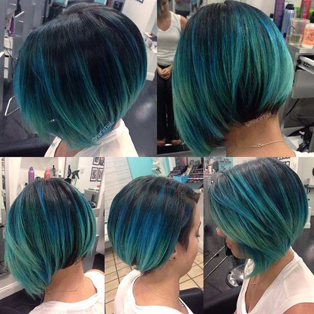ירוק כחלחל Blue Short Bob Hairstyle