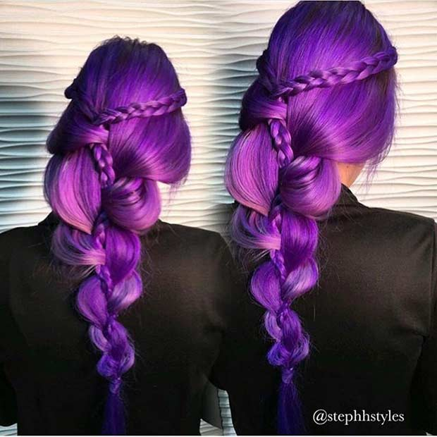 בָּהִיר Purple Hair with Braids