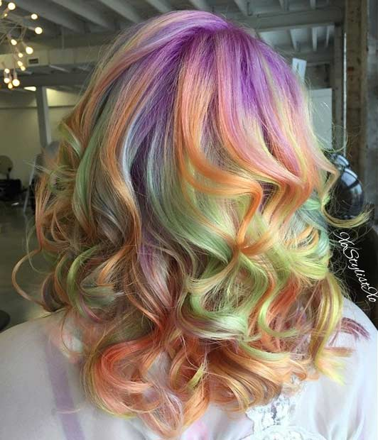 קשת בענן Sherbet Hair Color Idea