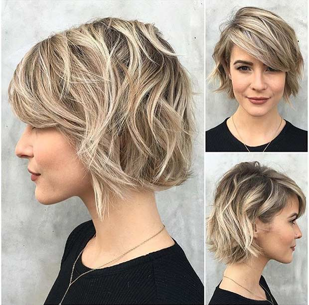 एश Blonde Bob with Blonde Balayage Highlights