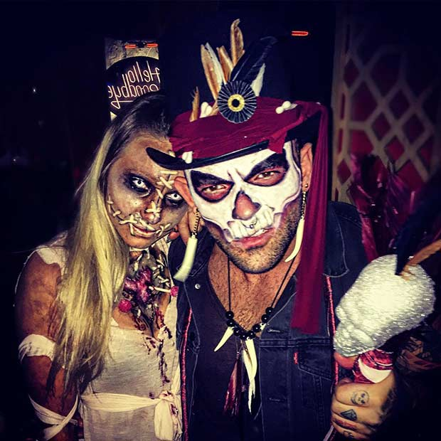 מַפְחִיד Couples Halloween Costume Witch-doctor and Voodoo