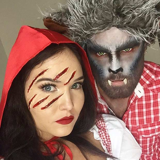 קטן Red Riding Hood and Wolf Couples Halloween Costume
