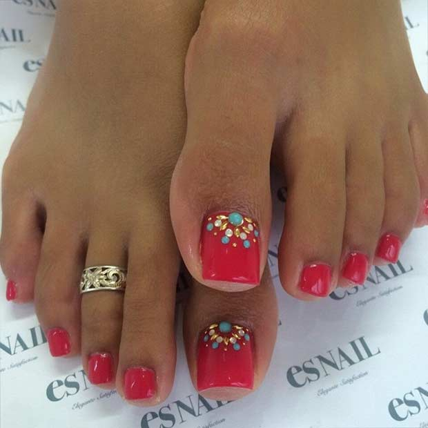 roșu Pedicure Design with Rhinestones
