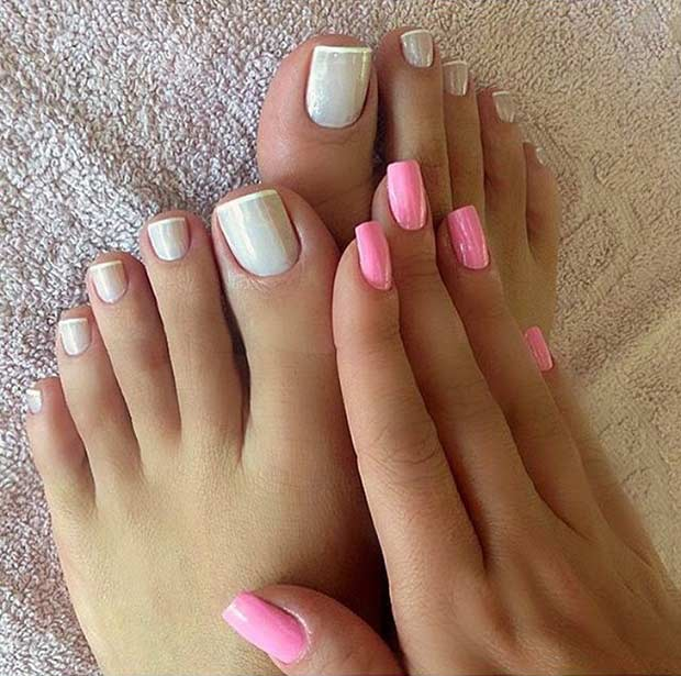 Slab French Pedicure Design