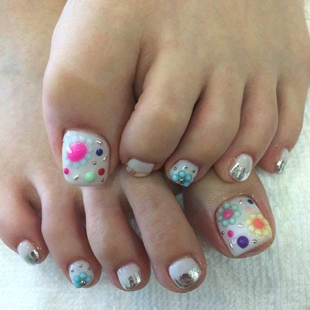 alb Pedicure with Colorful Rhinestones