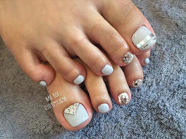 Elegant Grey and Silver Pedicure Design