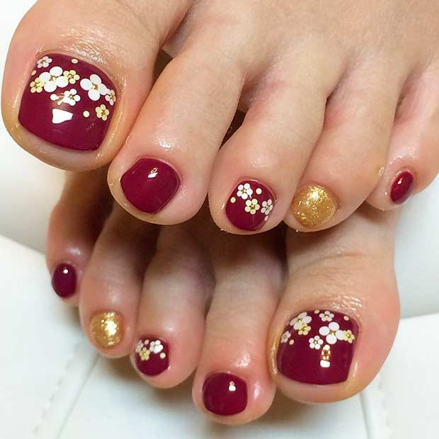 Burgundia and Gold Pedicure Design