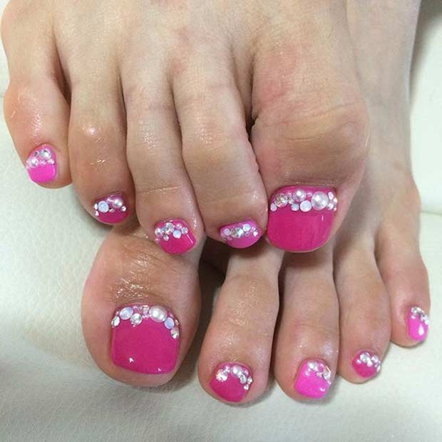 Rosa Pearl Pedicure Design