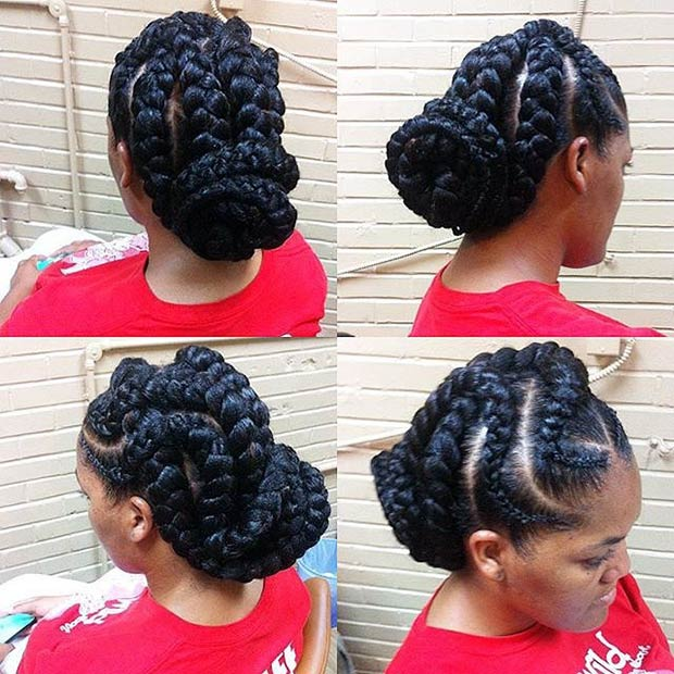 מְעוּקָל Goddess Braids Updo