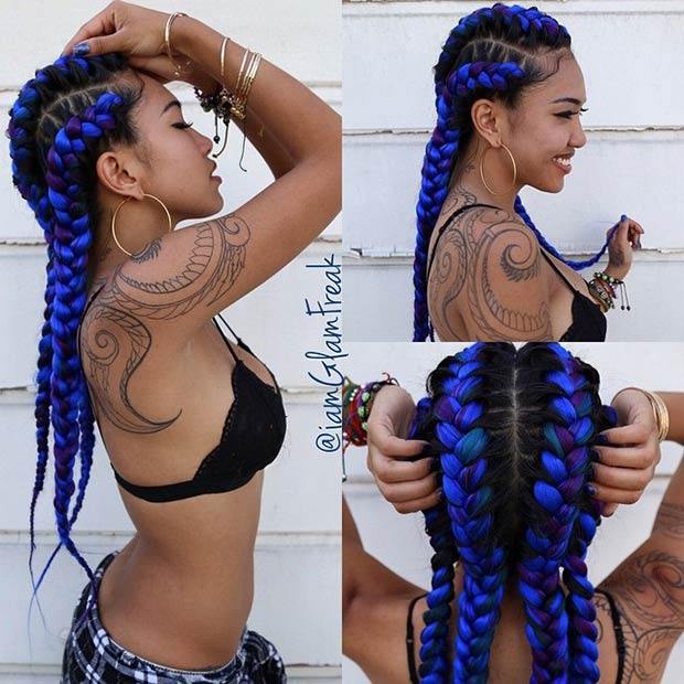 סָגוֹל and Blue Goddess Braids
