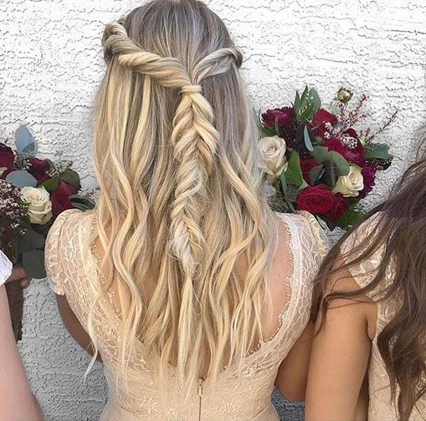 เป๋ Fishtail Braid Half Updo for Bridesmaids