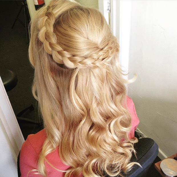 ugratta Crown with Braids and Curls Half Updo