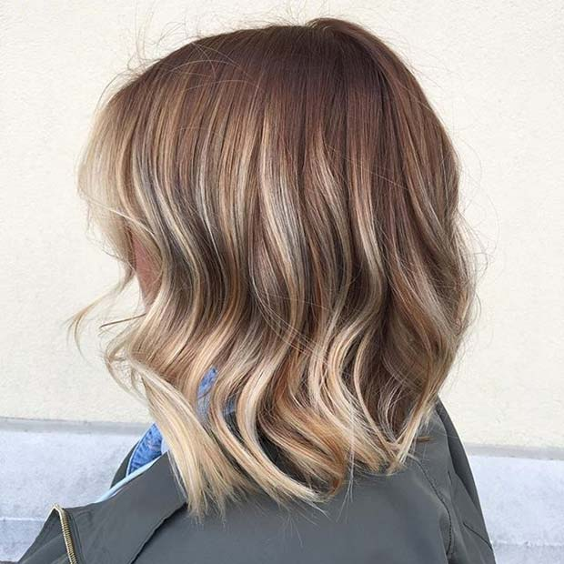 कारमेल Long Bob Style with Blonde Ends