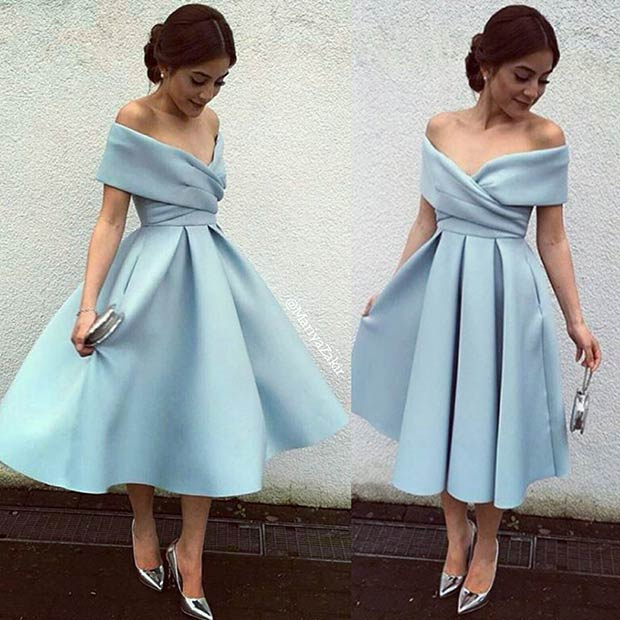 Кратак Light Blue Off the Shoulder Prom Dress