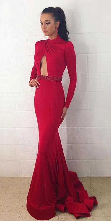 Дуго Red Prom Dress with Long Sleeves