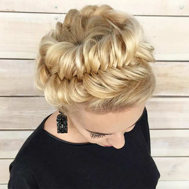 Fishtail Crown Braid Updo for Prom