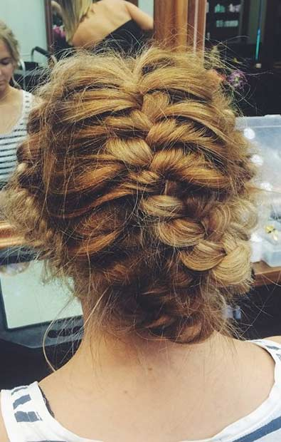 boho French Braided Updo for Prom