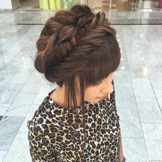 शिष्ट Milkmaid Braid Updo for Prom