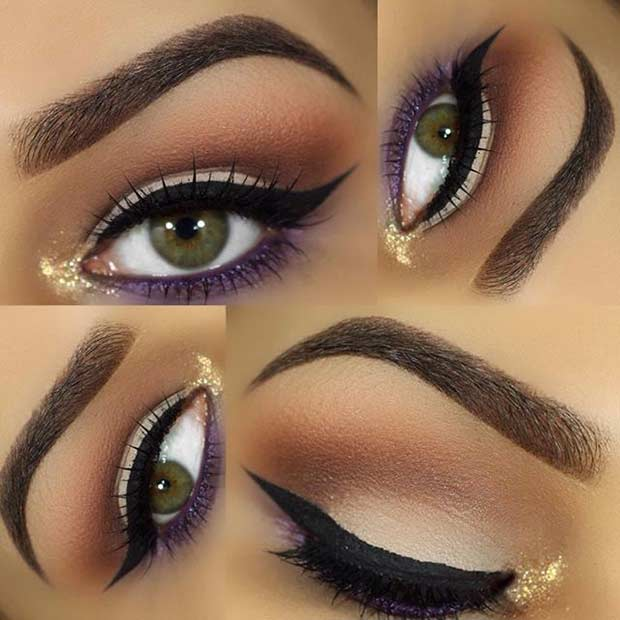Zlato and Purple Eye Makeup Look for Green Eyes