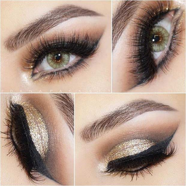 Arany Glitter Cut Crease Eye Makeup Look for Green Eyes