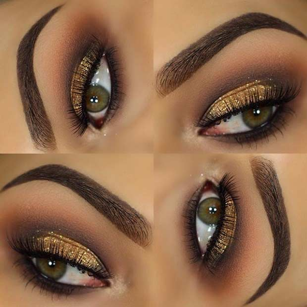 Elegáns Gold Glitter Eye Makeup Look