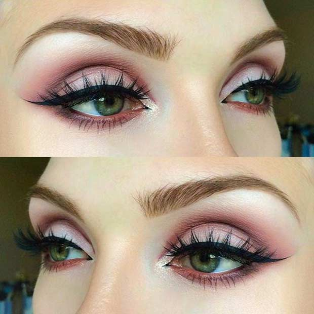 Mat Pink Eye Makeup Look for Green Eyes