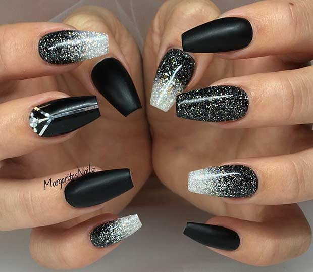 sparkly Black and Silver Coffin Nail Design