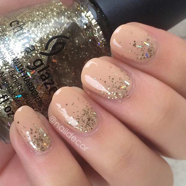 तटस्थ and Gold Glitter Ombre for Short Nails