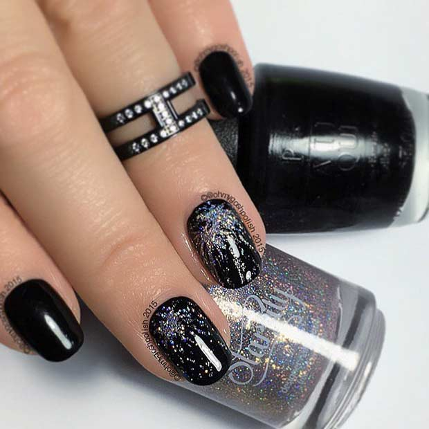काली and Silver Glitter Firework Nail Design