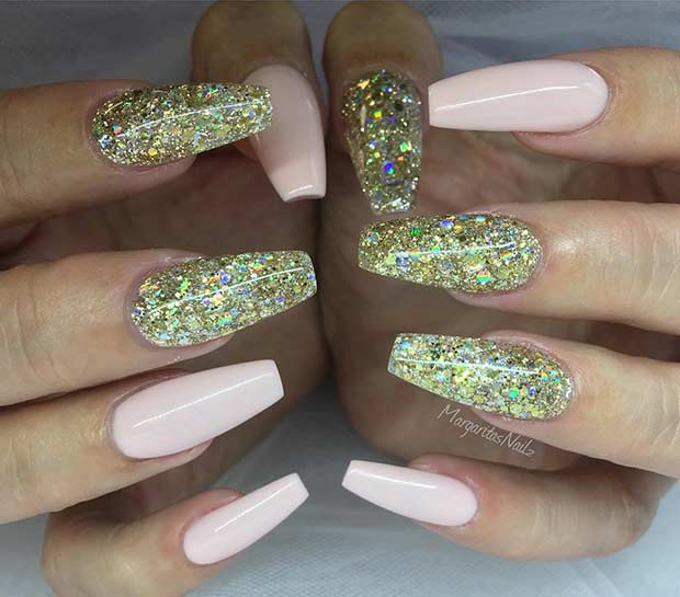रोशनी Pink and Gold Glitter Coffin Nails
