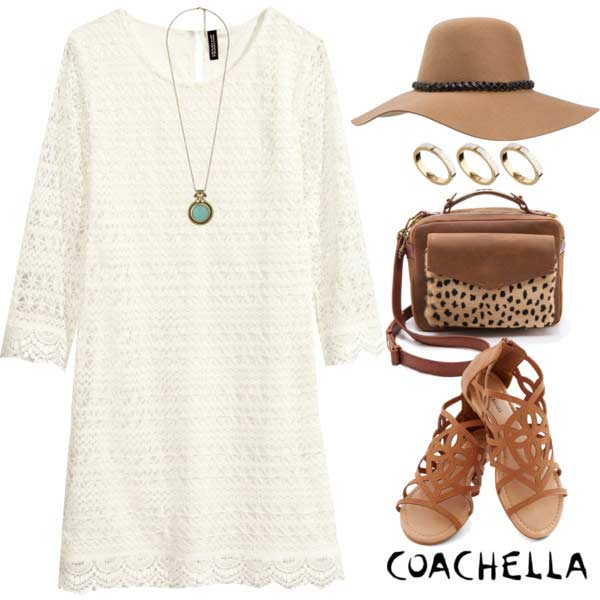 Coachella White Lace Dress Outfit