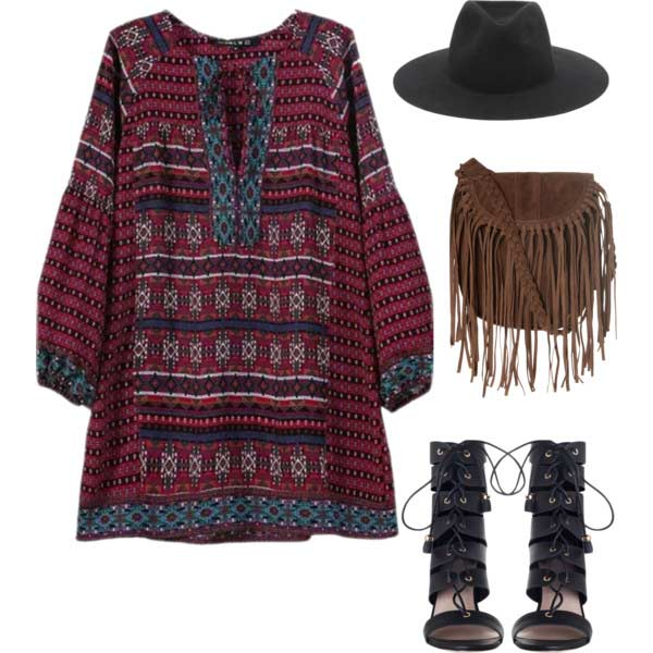 Бохо Dress Fringe Bag Coachella Outfit