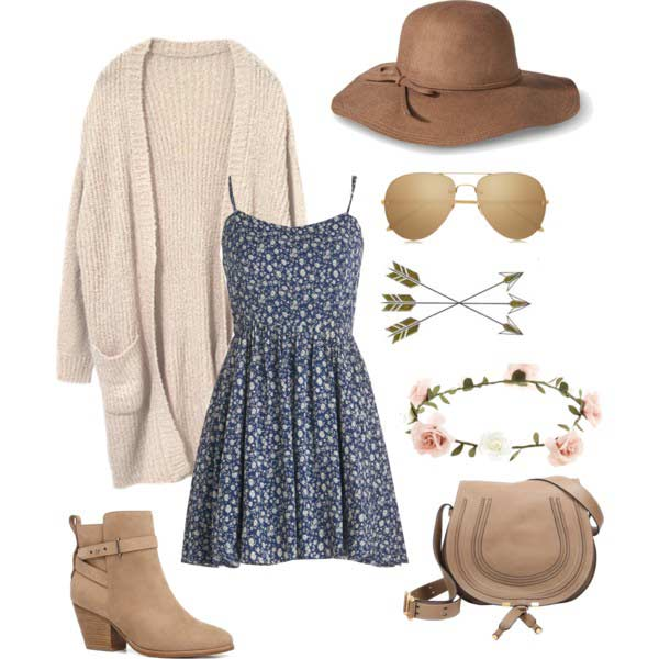 Слатко Coachella Outfit with Dress and Cardigan