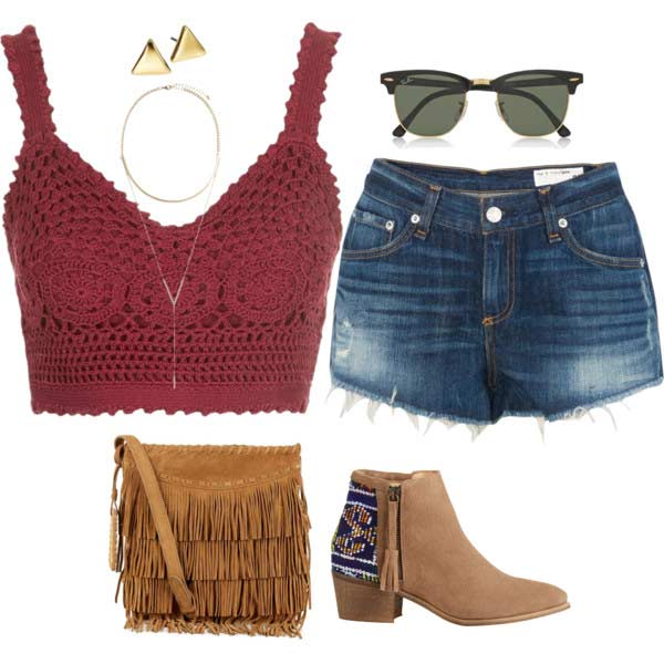 Кукичање Crop Top Denim Shorts Coachella Outfit
