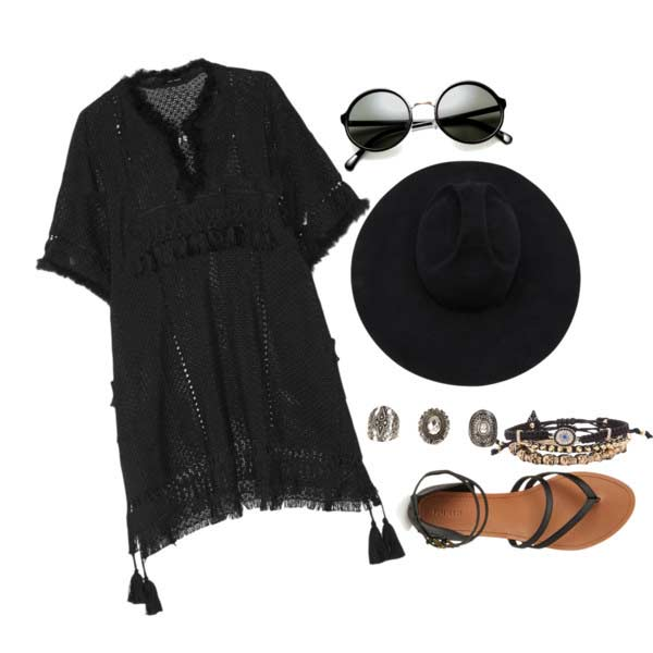 Црн Lace Dress Hat Coachella Outfit