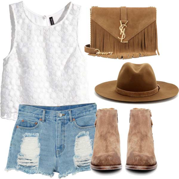 Traper Shorts White Top Coachella Outfit