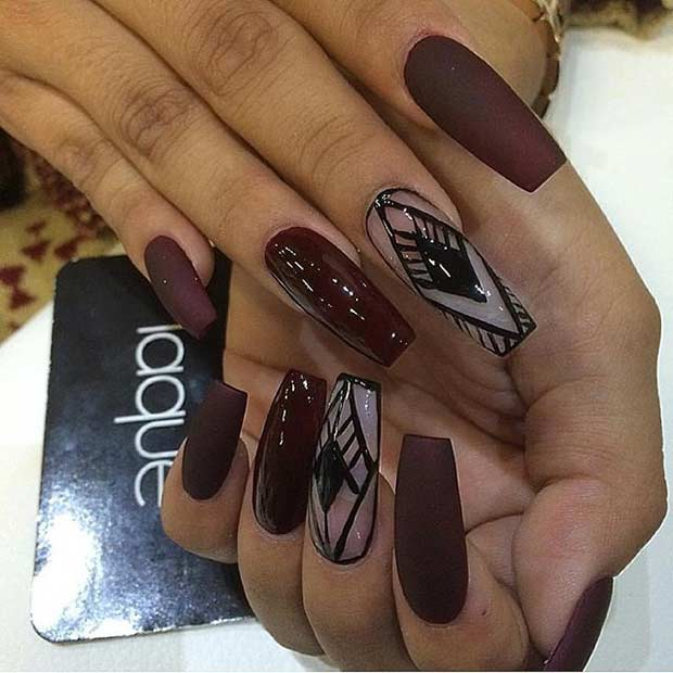 Lung Burgundy Matte Coffin Nails